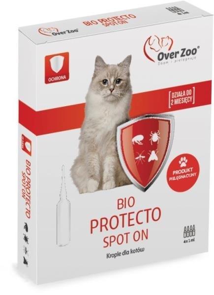Preparaty lecznicze - Over Zoo Krople BIO Protecto dla kotów 4x1ml