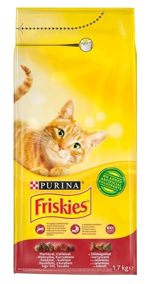 Karmy suche dla kota - Friskies Adult z wołowiną kurczakiem i warzywami 1,7kg
