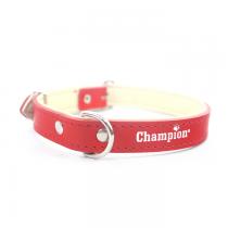 Champion Obroża Skórzana na skórce czerwona